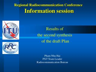 Regional Radiocommunication Conference  Information session