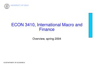ECON 3410, International Macro and Finance