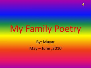 My Family Poetry