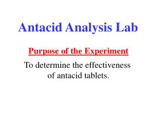 Antacid Analysis Lab