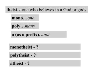 theist… one who believes in a God or gods