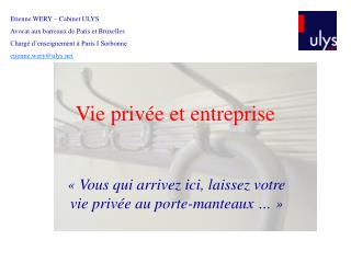 Vie privée et entreprise