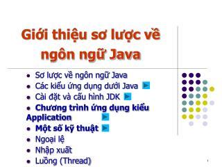 Giới thiệu sơ lược về ngôn ngữ Java