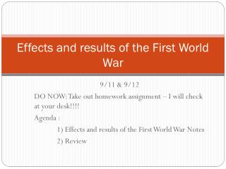 Effects and results of the First World War