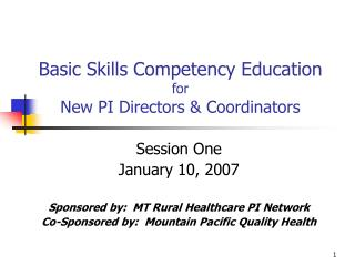 Basic Skills Competency Education for New PI Directors & Coordinators