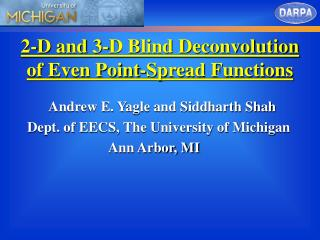 2-D and 3-D Blind Deconvolution of Even Point-Spread Functions