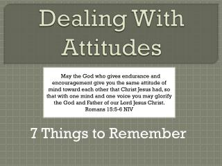 Dealing  With  Attitudes