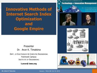 Innovative Methods of Internet Search Index Optimization  and  Google  Empire