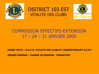 DISTRICT 103 EST VITALITE DES CLUBS