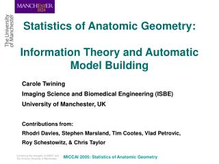 Statistics of Anatomic Geometry: Information Theory and Automatic Model Building