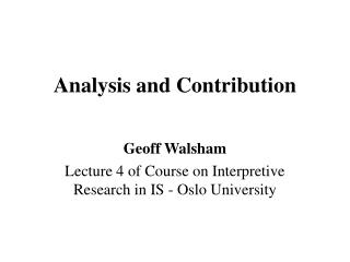 Analysis and Contribution