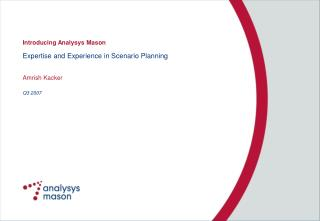 Expertise and Experience in Scenario Planning