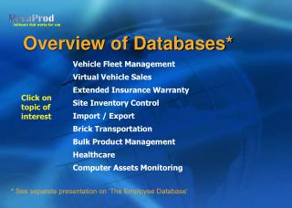 Overview of Databases*