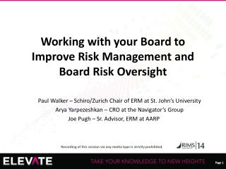 Working with your Board to Improve Risk Management and Board Risk Oversight