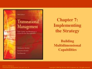 Chapter 7: Implementing the Strategy Building Multidimensional Capabilities
