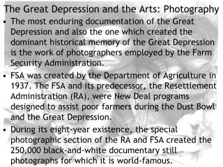 The Great Depression and the Arts: Photography