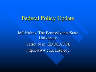 Federal Policy Update