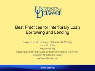 Best Practices for Interlibrary Loan Borrowing and Lending