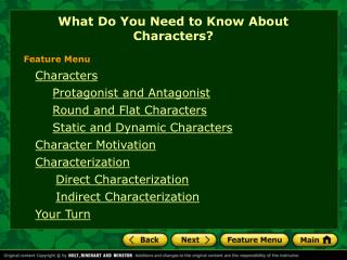 What Do You Need to Know About Characters?
