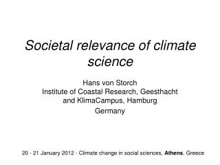Societal relevance of climate science