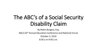 The ABC's of a Social Security Disability Claim