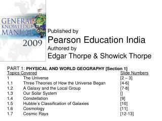 PART 1:  PHYSICAL AND WORLD GEOGRAPHY [Section 1] Topics Covered Slide Numbers