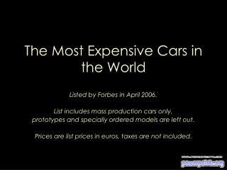 The Most Expensive Cars in the World