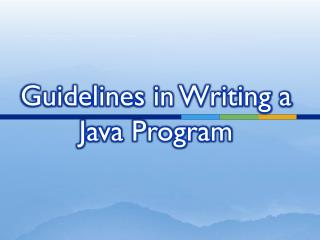 Guidelines in Writing a Java Program