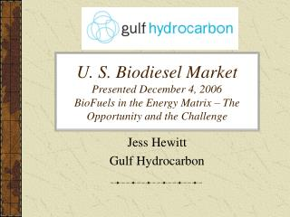 U. S. Biodiesel Market Presented December 4, 2006 BioFuels in the Energy Matrix – The Opportunity and the Challenge