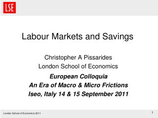 Labour Markets and Savings