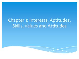 Chapter 1: Interests, Aptitudes,  Skills, Values and Attitudes