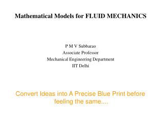 Mathematical Models for FLUID MECHANICS