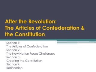 After the Revolution: The Articles of Confederation & the Constitution