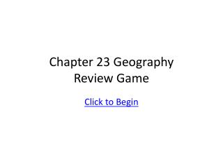 Chapter 23 Geography Review Game