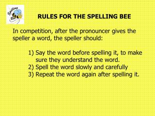 Spelling Bee Rules
