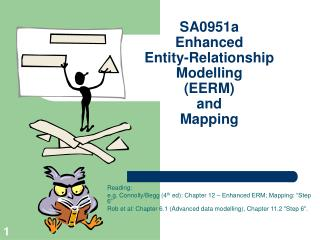 SA0951a Enhanced  Entity-Relationship  Modelling (EERM) and Mapping