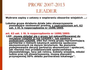 PROW 2007-2013 LEADER