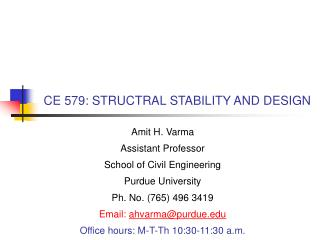 CE 579: STRUCTRAL STABILITY AND DESIGN