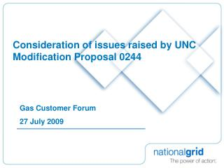 Consideration of issues raised by UNC Modification Proposal 0244