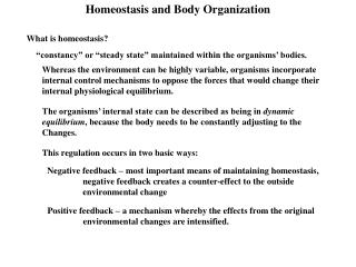 Homeostasis and Body Organization
