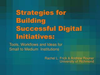 Strategies for Building Successful Digital Initiatives: