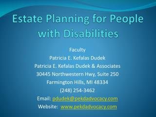 Estate Planning for People with Disabilities