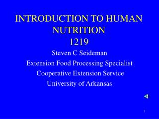 INTRODUCTION TO HUMAN NUTRITION 1219