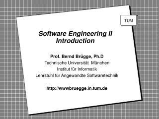 Software Engineering II Introduction