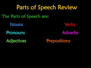 z Parts of Speech Review The Parts of Speech are: Nouns Verbs Pronouns				      Adverbs
