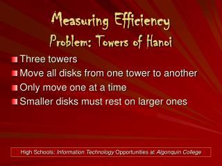 Measuring Efficiency Problem: Towers of Hanoi