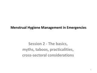 Menstrual Hygiene Management in Emergencies