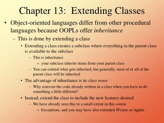 Chapter 13:  Extending Classes