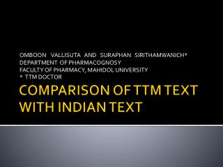 COMPARISON OF TTM TEXT WITH INDIAN TEXT