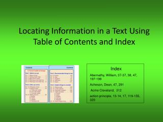 Locating Information in a Text Using Table of Contents and Index